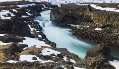the wild rivers of Northern Iceland (lunaryuna) Tags: longexposure snow ice season landscape iceland spring rockface le lunaryuna columnarbasalt wildriver rivergorge panoramicviews rivercourse seasonalchange godafosswaterfall riverskjlfandafljt centralnorthiceland