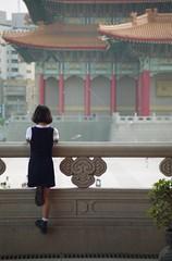 Girl, Taipei, Taiwan, 1994 (bourdieu_boy) Tags: girl taipei taiwan chiang kaishek memorial pentax sigma 70210mm f456 uc film scan architecture chinese