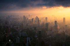 Magic Twilightshanghai (L-E-N-G) Tags: china city travel sky sun color tower architecture sunrise haze asia shanghai natural wide scene impressed gettyimages