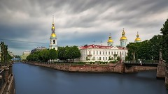 St. Nicholas Naval Cathedral (Eduard Gorobets) Tags: city longexposure travel trees light sunset summer panorama water clouds river landscape evening colorful cityscape view cathedral bright russia outdoor orthodox hdr thunderbolt thepromenade traveldestination travelandtourism sanktpetersburg