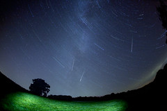 Stars May Fall  33/52 (rmrayner) Tags: perseidmeteors shootingstars astronomy nightsky nightscape meteors startrails stars lightpainting themilkyway galaxy spinningaround polestar starsmayfall sliderssunday photogeekery multipleexposures longexposure 52weeksthe2016edition 3352 geekingitup threeofakind fisheye 15mm wideangle night flickrfriday space canon5dmark3 sigma15mmf28exdgfisheye