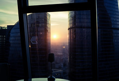 18181-1 (i.gorshkov) Tags: urban travel architecture moscow city skyscraper sunset sun sky clouds orange horizon beautiful view hotel room indoor outdoor business dawn evening building cityscape blue