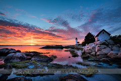 Sunset at Annisquam Light - explored (betty wiley) Tags: annisquam lighthouse gloucester massachusetts light sunset northshore newengland bettywileyphotography coast coastal rocky coastline