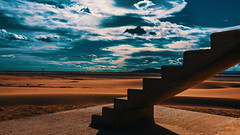 Stairs nowhere (Jose L. Parra) Tags: clouds deportesdeagua horizon landscape nature pesca red sky desert stairs sun