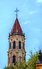 Above All (Chris C. Crowley) Tags: aboveall spire turret church staugustine florida architecture tileroof sky clouds windows trees scenic building cross