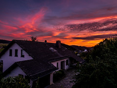 Great evening mood with perfect colours at the sky (jonasschmidt1909) Tags: orange red sauerland olympus em10 evening mood