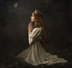 In Her Prayers ({jessica drossin}) Tags: portrait moon white beautiful dark painting photography solitude alone dress prayer pray praying redhead textures crown gown redhair jessicadrossin jdbeautifulworldcollection jdmacabrecollection