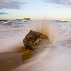 Blast Wave (Semi-detached) Tags: wood sunset seascape beach rock landscape evening coast scotland pier movement sand energy exposure bass north wave spray east direction berwick lothian