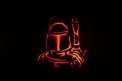 Boba Fett jack-o-lantern (Christopher Wallace) Tags: autumn holiday fall halloween digital pumpkin star starwars nikon october jackolantern carving bobafett boba wars 18200 vr fett 18200mm 18200mmvr d7000 nikond7000