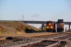 East meet's west..BNSF Vrs Up. (Machme92) Tags: railroad fall burlington fallcolors grain rail trains row bn missouri rails ge bnsf railroads stacks brandnew railroading railfanning gevo railfans transcon trainrace burligrton