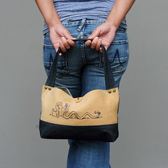 Jeans and leather bag (pini piru) Tags: blue brown leather bag screenprint handmade purse handbag upholstery rawedge jeansfabric pinipiru koutkunstje