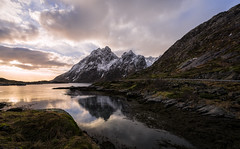 Beautiful Norwegian place number 1,342,435: Mølnarodden (elmofoto) Tags: nordland norway norge lofoten islands archipelago mølnarodden nikon d800 nikond800 1424mm fjord mountains peaks snow road guardrail elmofoto lorenzomontezemolo fav100 fav200 fav300 fav400 fav500 fav600 fav700 fav800 fav900 flickrlicensing fav1000 fav1100 fav1200 50000v