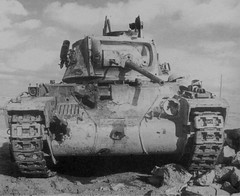 """British Matilda II that took a beating """"from 88mm anti-aircraft guns in the Tobruk area"""""""