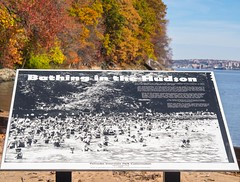 Bathing in the Hudson Historic Photograph, Palisades Interstate Park, Englewood Boat Basin, New Jersey (jag9889) Tags: park autumn usa fall colors sign river landscape newjersey unitedstates unitedstatesofamerica nj foliage photograph pip hudsonriver waterway gardenstate palisades 2014 northriver englewoodcliffs palisadesinterstatepark bergencounty newjerseysection jag9889 20141108