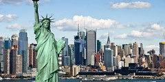 59760706 (i-Tours) Tags: new york city blue sky tourism water statue skyline clouds america buildings river liberty boat day sailing ship cityscape sunny landmark concept