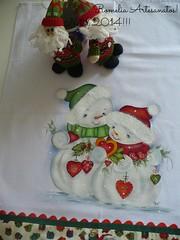 Pano de prato! (romelia.artesanatos) Tags: natal de boneco pano neve prato pintura tecido 2014