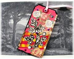 Floral Romance (Ravensmagiclantern) Tags: scrapbooking ooak journal bookmark arttag vintageephemera