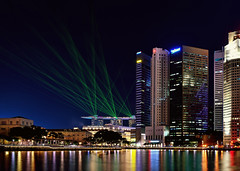 Light Show (Rebecca Ang (AWAY)) Tags: lighting light reflection reflections boat twilight singapore quay financialdistrict cbd bluehour lasershow lightshow boatquay mbs centralbusinessdistrict singaporeriver thebluehour marinabaysands rebeccaang
