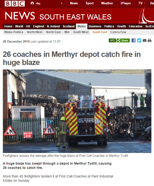 BBC News   26 coaches in Merthyr depot catch fire in huge blaze