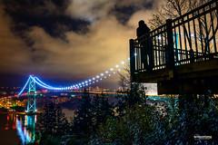 Selfie Silhouette - Enjoying the night view of the Lions Gate Bridge (winson.tang) Tags: park vancouver lookout stanley stanleypark lionsgatebridge prospectpoint selfie bridgereflection selfiesilhouette nighttimereflection