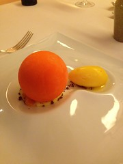 Sorbee and a strange orange type dessert.
