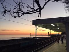 Waiting for the train (Jose Nunes _) Tags: sunset portugal train trainstation cascais monteestoril iphone6 vscocam estaçãoferroviáriademonteestoril