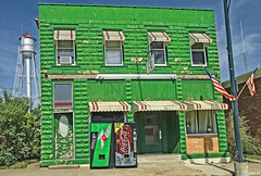 THE UNCOLA (akahawkeyefan) Tags: building green watertower iowa flags pop soda machines vending 7up garnavillo davemeyer
