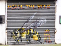 #SaveTheBees (Douguerreotype) Tags: street city uk england urban streetart london art shop insect graffiti store britain bee shoreditch gb british