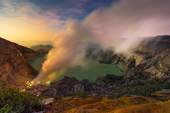 Sunrise at ijen volcano (Mytruestory Photography) Tags: travel sky people panorama cloud mountain lake color nature beauty rock horizontal sunrise indonesia outdoors photography dawn java high view angle image no object smoke tranquility structure steam formation crater land environment geography geology volcanic feature scenics physical in destinations ijen kawah mytruestory