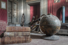 Worldly Possessions (Cyber House) Tags: france abandoned globe nikon decay empty exploring books chateau derelict hdr ue urbex photomatix cyberhouse worldlypossessions napoleonbonapartefan