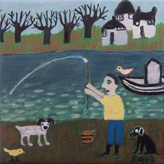 "#1342 ""Fishing"" (sariart2) Tags: original trees houses dog white lake seascape abstract black bird art yellow shirt self painting landscape acrylic folk ooak small mini sari bot childlike azaria noy tauht"