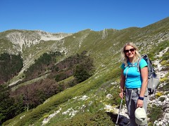Edita on the flanks of Pizzo Deta, with Monte del Passegio behind (markhorrell) Tags: walking lazio apennines montiernici