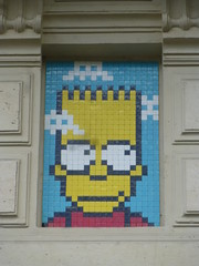 PA 1207 aka Bart Simpson / Space Invader (juillet 2016) (Archi & Philou) Tags: streetart mosaic spaceinvader tiles pixelart simpson bartsimpson mosaque carreau paris11