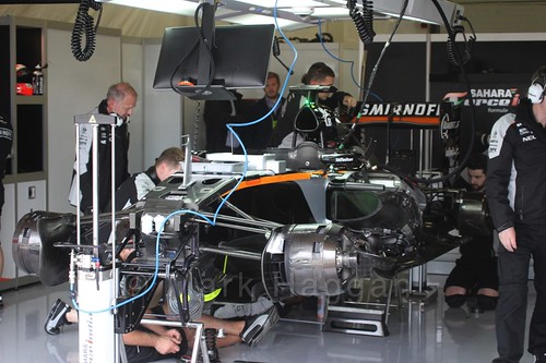 Nikita Mazepin's Force India during Formula One In Season Testing at Silverstone, July 2016