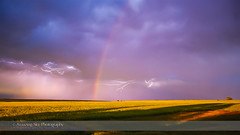 Lightning and Rainbow at Sunset (Amazing Sky Photography) Tags: sunset clouds rainbow bolts thunderstorm lightning prairie lowsun wheatfield videostack