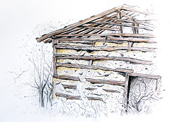 Old Barn (simeon genew) Tags: house sepia barn pencil sketch village cottage ruin oldschool bulgaria bucolic