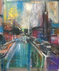 St Pancras London (Captain Wakefield) Tags: painting art impressionist cityscape samuel burton st pancras london acrylic buildings colour contemporary modren abstract expressionist