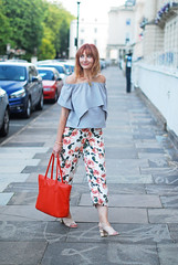 Summer style: Off the shoulder ruffle top, floral cropped trousers, orange tote | Not Dressed As Lamb (Not Dressed As Lamb) Tags: style fashion fashionista summer florals shoulder off