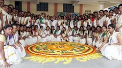 CHENNAI: Students with Pookalam (flower rangoli) celebrating Onam festival at Valliyammal Womens College in Chennai on Monday (legend_news) Tags: chennai tamilnadu india students with pookalam flower rangoli celebrating onam festival valliyammal womens college monday