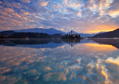 Bled Sunrise (charlottebrettphotography) Tags: autumn mirror blejskiotok bledisland blejskojezero ifeelslovenia landscape clouds reflections sunrise centraleurope europe lake mountains julianalps alps slovenja slovenia bled lakebled
