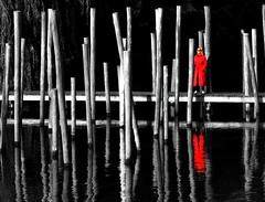 Lady in Red (Clare-White) Tags: lake reflections red coat lady amsterdam poles sticks wood bw bridge standing bestofweek1 bestofweek2