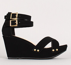 "cross cross ankle straps open toe wedge sandal blk • <a style=""font-size:0.8em;"" href=""http://www.flickr.com/photos/64360322@N06/15542273918/"" target=""_blank"">View on Flickr</a>"