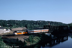 Crossing the Naugatuck River (jwjordak) Tags: railroad bridge usa train river ct nh 2006 metronorth ansonia cdot fl9 mncr waterburybranch