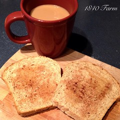 "Homemade bread and a cup of hot coffee was the perfect way to get my day started.  My morning chores are finished and I am warming up in front of the pellet stove with a second cup. It was a cold 23 degrees while I was tending to all of the animals!  Now • <a style=""font-size:0.8em;"" href=""http://www.flickr.com/photos/54958436@N05/15657799269/"" target=""_blank"">View on Flickr</a>"