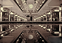 QVB reflecting (loobyloo55) Tags: architecture reflections mono sydney australia qvb