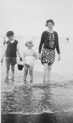 Paddling on a Beach 1947 (Bury Gardener) Tags: blackandwhite bw beach vintage seaside 1940s oldies 1947