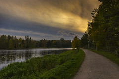Burned with Desire (MilaMai) Tags: road autumn sunset sky lake fall nature grass horizontal clouds finland landscape outdoors golden countryside path dramatic nopeople hmeenlinna aulanko milamai