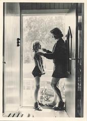 Mother and daughter in the doorway