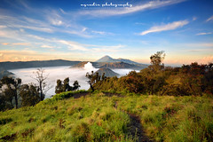 lights on volcano complex (azrudin) Tags: travel panorama nature island volcano aerialview mount caldera mountbromo mountmerapi mountbatok