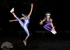 Happy Friday (Blinkofanaye) Tags: blue girls girl dance women dancers mask kick air tights leap leotards